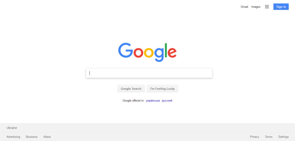 The interface of the Google home page