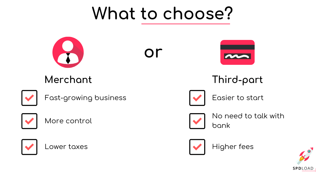 Short overview of both types of payments. merchant and third-part