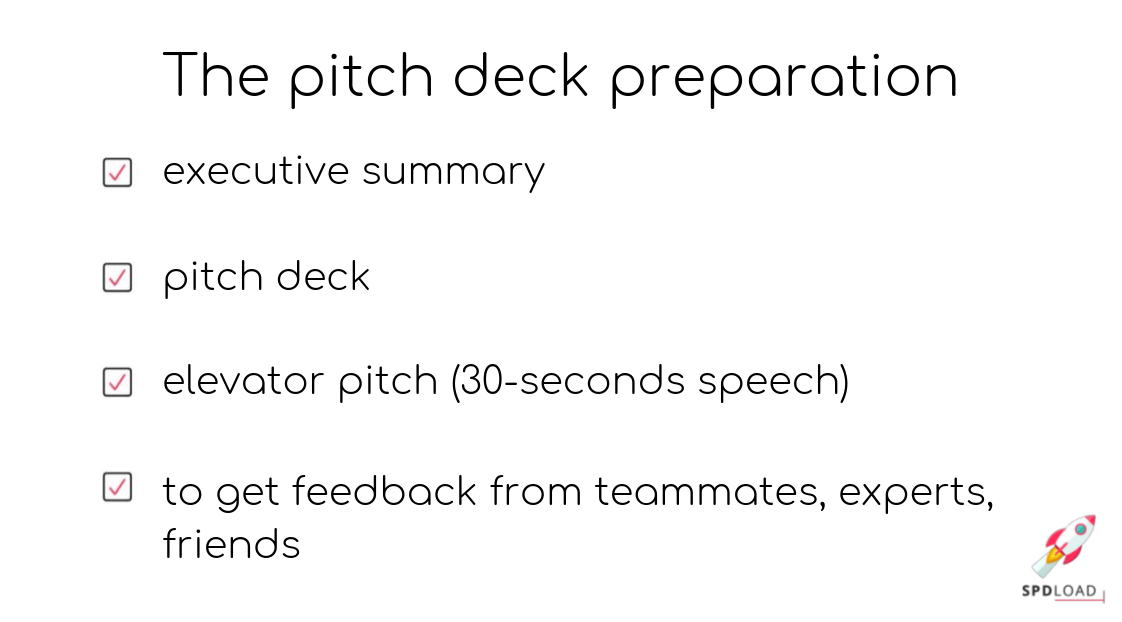 Check list for preparing the pitch deck