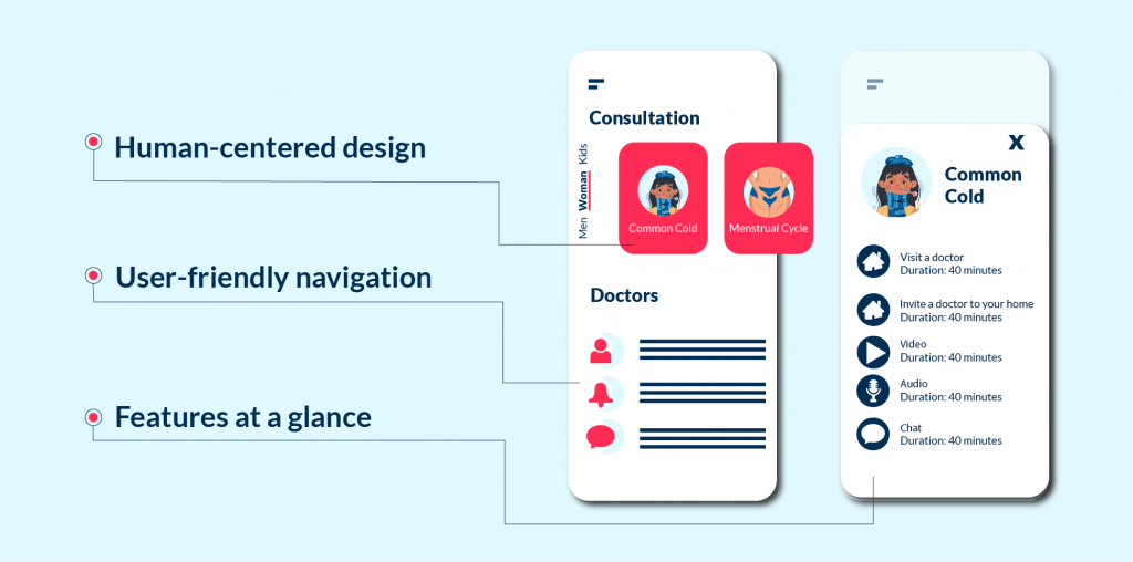 Examples of a user-friendly design of telemedicine app development project