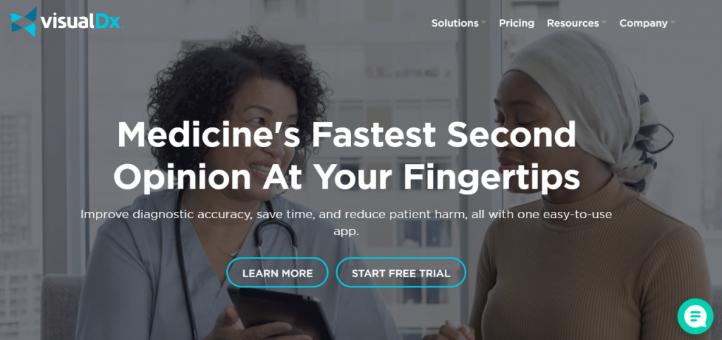 This is a screenshot of the Visual DX service that we used to show an example of a healthcare app that is worth looking at when developing your own medical startup.