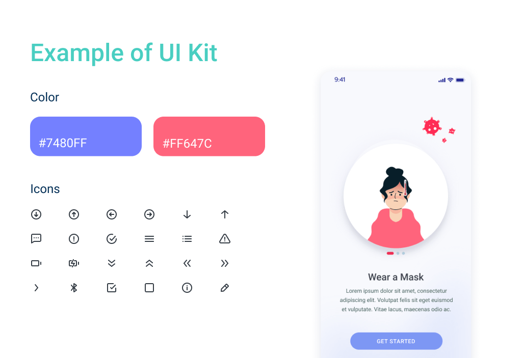 The UI kit makes prototypes live, and additionally define cost to design an app in a final look.