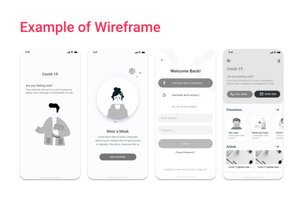 The high-fidelity wireframes finalize the mobile app design cost in terms of business logic.