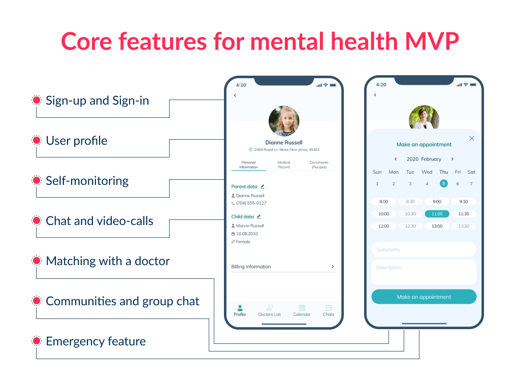 To find out how to develop a mental health app take a precise look at core features to build an MVP