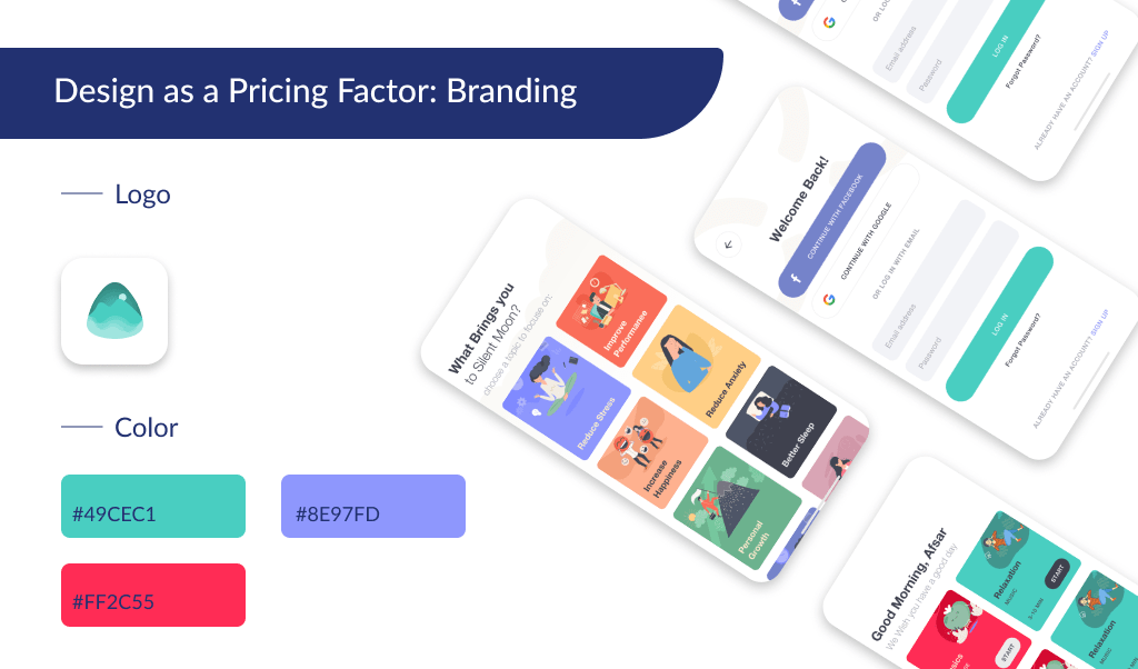 The branding is another part of UI design, that impacts the cost of app development