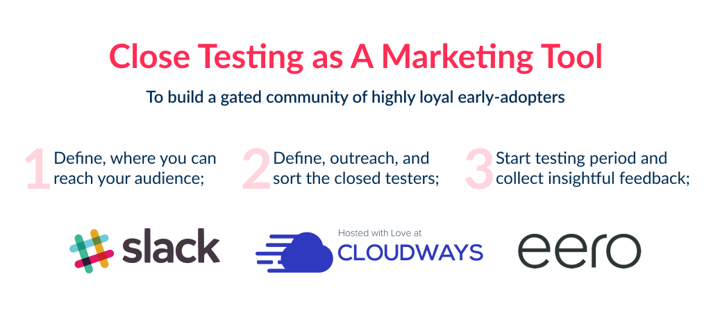 Close beta testing is one of most common startup marketing ideas