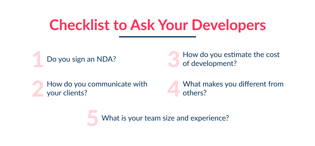 Checklist of questions to ask your potential app development partner