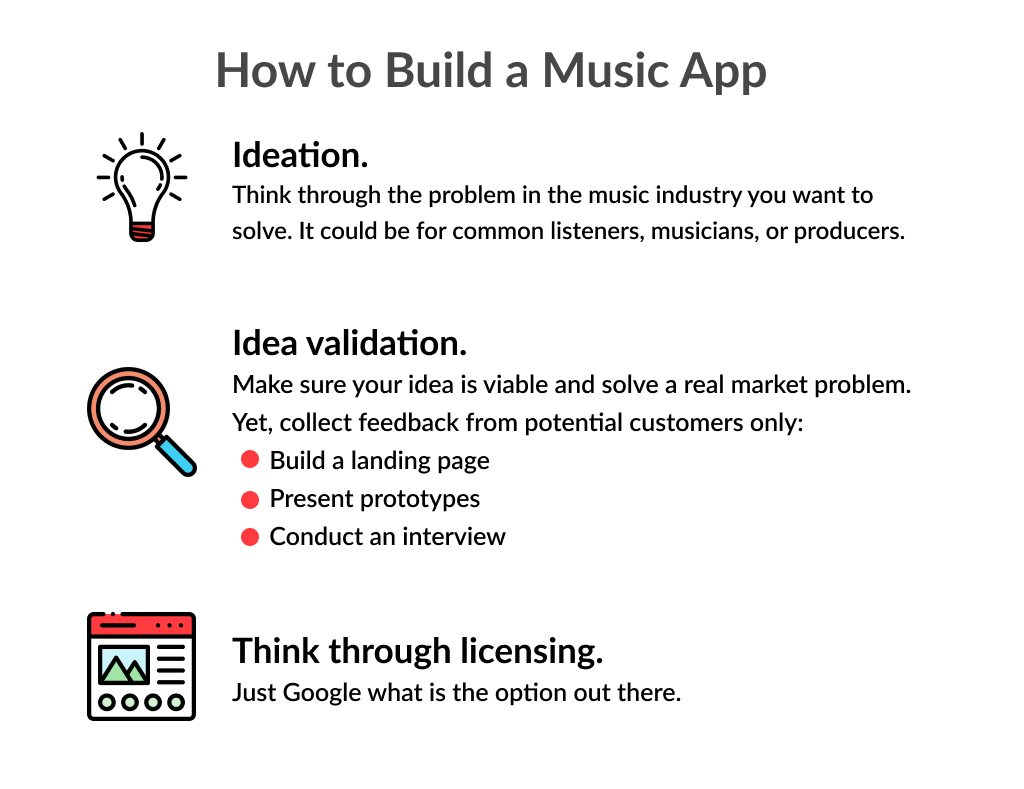There are 3 simple steps describing how to create a music app