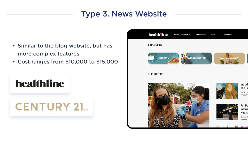 This image shows how the cost of website development on the example of a news platform