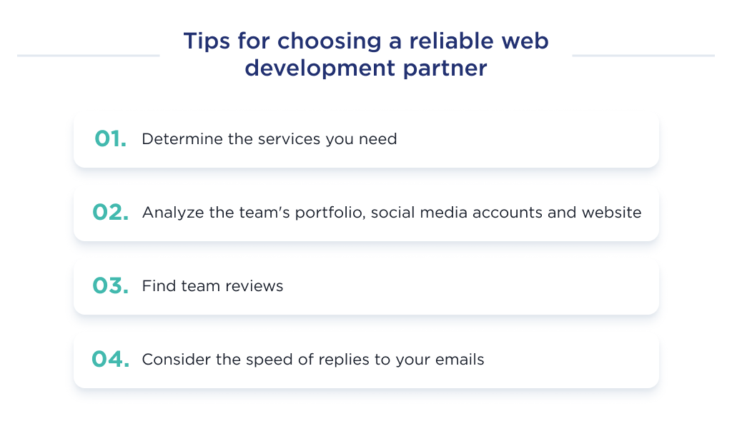 This image shows the key factors to pay attention to while choosing website development partner