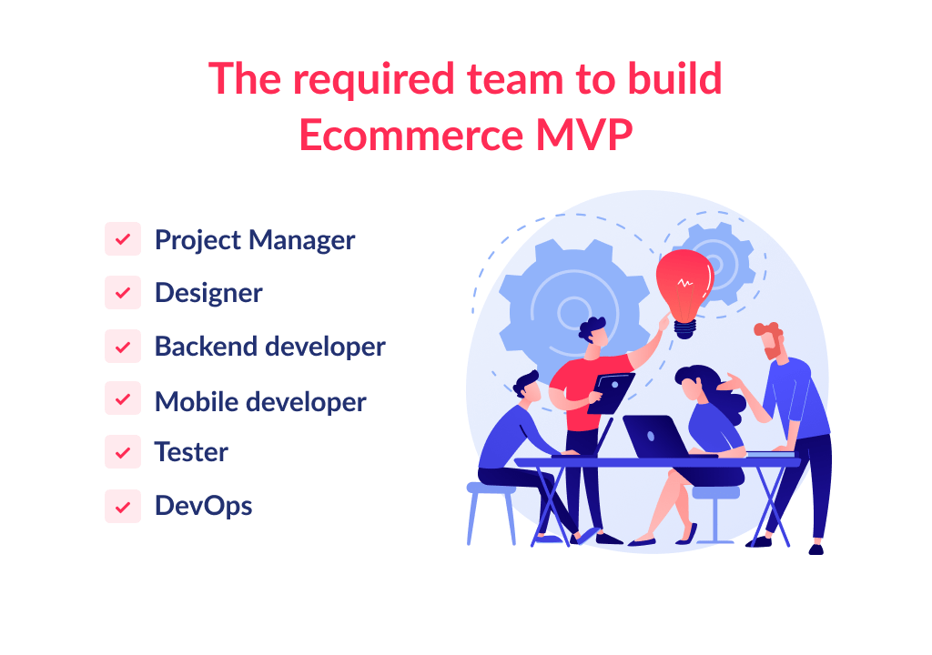 What is required team for ecommerce mobile app development?