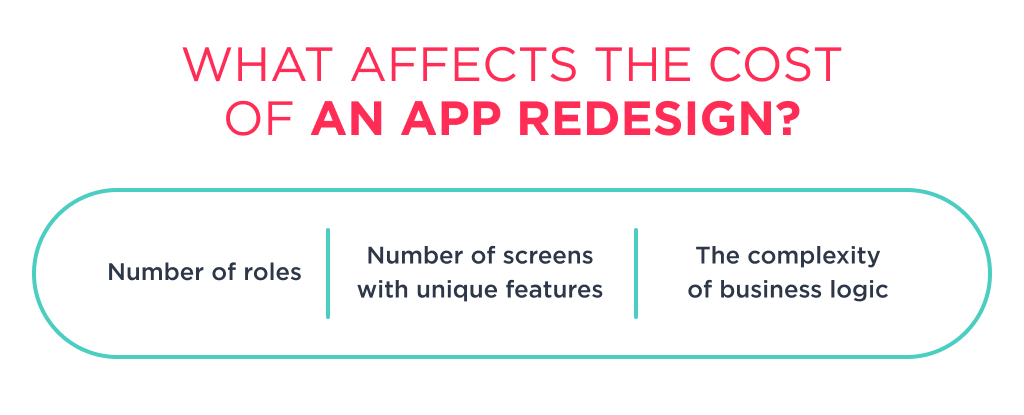 There is 3 key factors, that defines how much does it cost to redesign an app