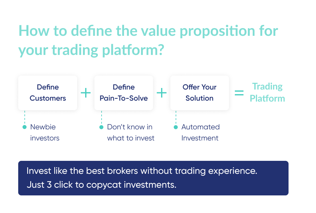 As you'll research more on how to build a trading platform, it is important to think through the value proposition of your startup too