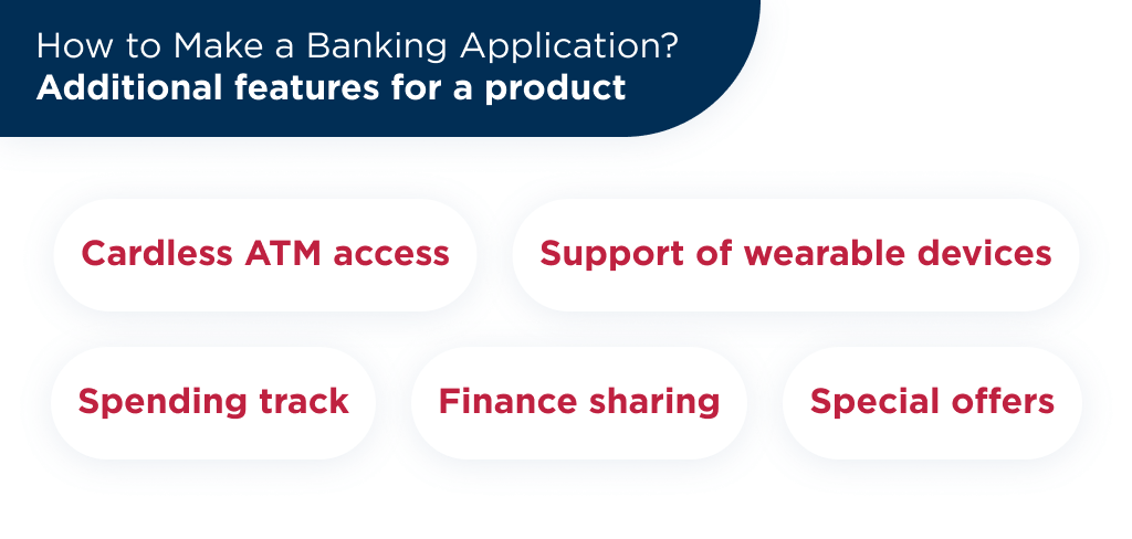 Another cool point in banking app development is the list of additional available features to add into your product
