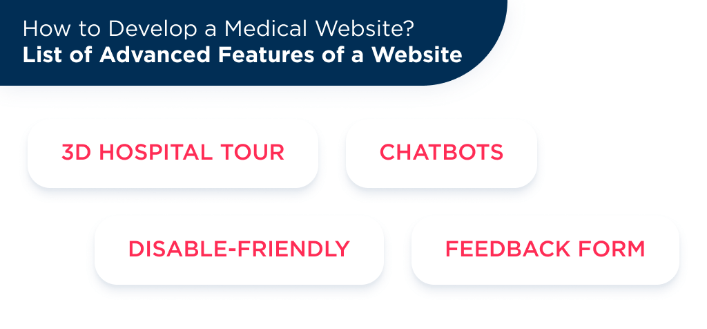 There is a list of additional features for medical website development