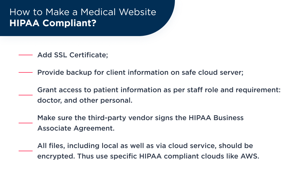 HIPAA compliance is a essential requirements for medical web development