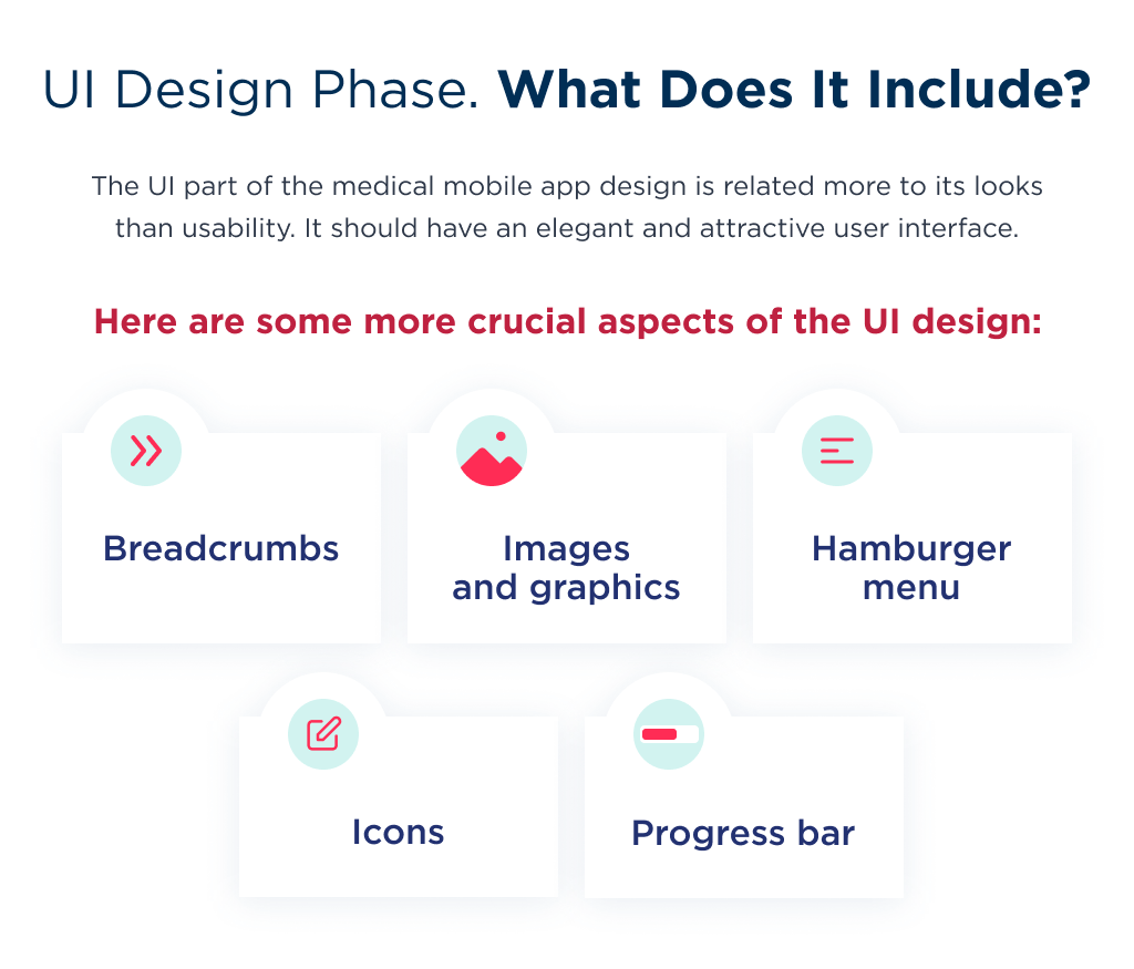 What does healthcare app design include in terms of UI?
