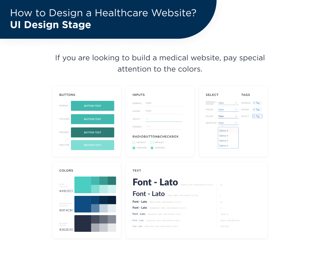 There is UI kit, that uses in healthcare website design projects